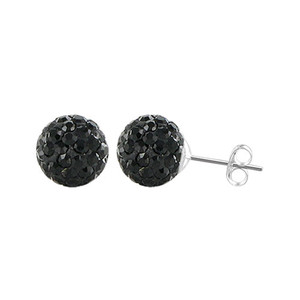 6mm Round Black Crystal Ball Stud Earrings
