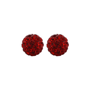 6mm Round Red Crystal Ball Stud Earrings