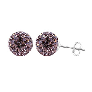 6mm Round Lavender Crystal Ball Stud Earrings