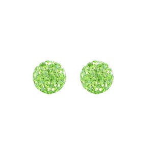 8mm Round Green Crystal Ball Stud Earrings