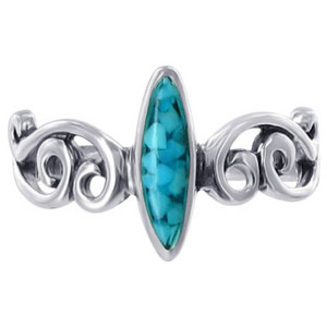 925 Silver Marquise Shape Turquoise Chip Inlay Ring