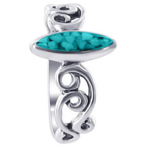 925 Sterling Silver Marquise Shape Turquoise Gemstone Chip Inlay Southwestern Style Ring