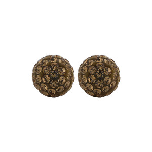 8mm Round Brown Crystal Ball Stud Earrings