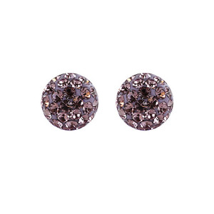 8mm Round Lavender Crystal Ball Stud Earrings