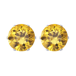 Yellow CZ Sterling Silver Stud Earrings