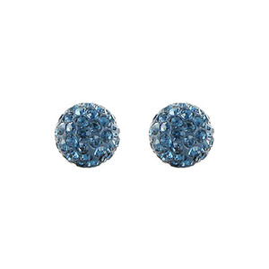 8mm Round Montana Blue Crystal Ball Stud Earrings