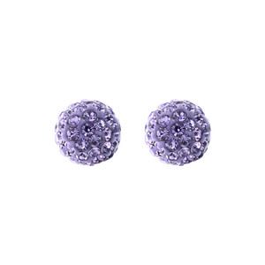 8mm Round Purple Crystal Ball Stud Earrings