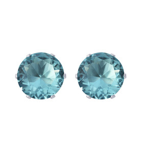7mm Round Aqua Color Cubic Zirconia CZ March Birthstone Sterling Silver Stud Earrings