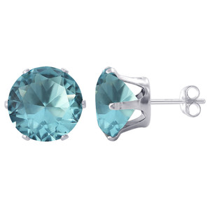 8mm Round Aqua Color Cubic Zirconia CZ Stud Earrings