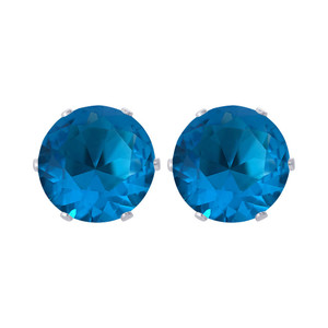 8mm Round Blue Zircon Color CZ Stud Earrings