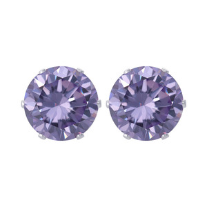 8mm Round Purple Cubic Zirconia CZ Stud Earrings