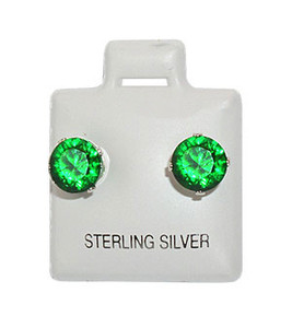 Emerald Color Cubic Zirconia Stud Earrings