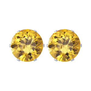 8mm Round Yellow CZ Stud Earrings