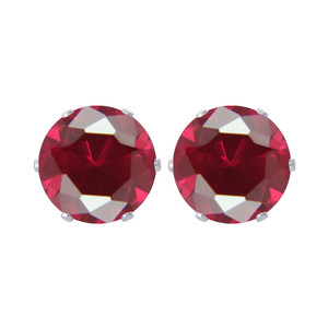 10mm Round Ruby Color CZ Cubic Zirconia Stud Earrings