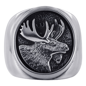 925 Silver Oval Design & Moose Southwestern Style Ring
