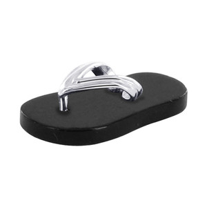 Flip Flop 20mm x 9mm Black Onyx Gemstone Sterling Silver Pendant