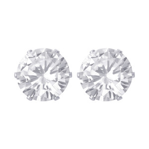 11mm Round Clear CZ Stud Earrings