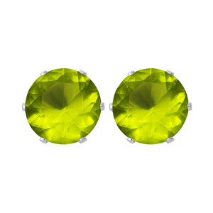 11mm Round Green Cubic Zirconia CZ August Birthstone Sterling silver Stud Earrings