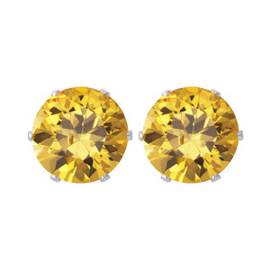11mm Round Yellow Cubic Zirconia CZ November Birthstone Sterling silver Stud Earrings