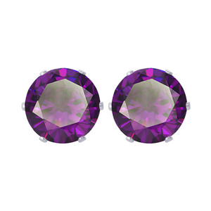 12mm Round Purple CZ Cubic Zirconia February Birthstone Sterling silver Stud Earrings