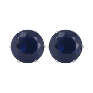 12mm Round Blue Sapphire Color Cubic Zirconia CZ September Birthstone Sterling silver Stud Earrings