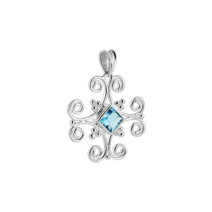 Blue Topaz Gemstone Sterling Silver Pendant