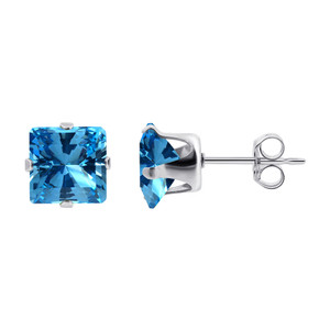 3mm Square Blue CZ Cubic Zirconia Stud Earrings