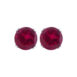 7mm Round Ruby Color July Birthstone Sterling Silver Stud Earrings