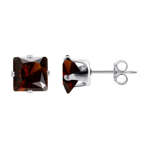 Red January Birthstone 925 Silver Stud Earrings