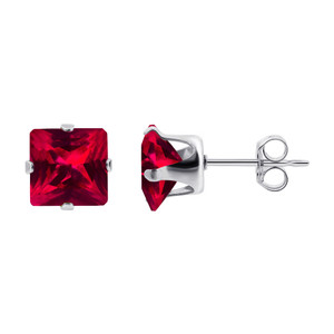 Red July Birthstone 925 silver Stud Earrings