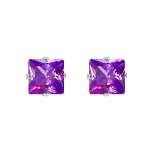 Square Purple CZ February Birthstone 925 silver Stud Earrings