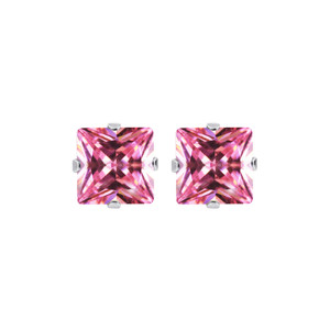 Pink CZ 925 Silver Stud Earrings