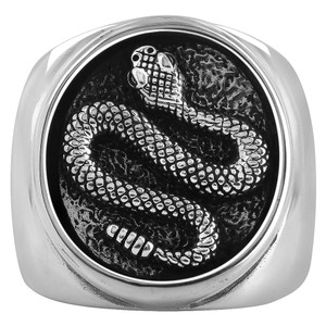 925 Sterling Silver Viper Snake Mens Ring