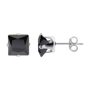Black Cubic Zirconia Sterling Silver Stud Earrings