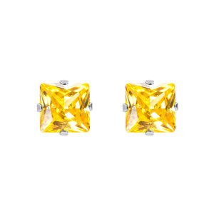 Yellow CZ November Birthstone 925 silver Stud Earrings
