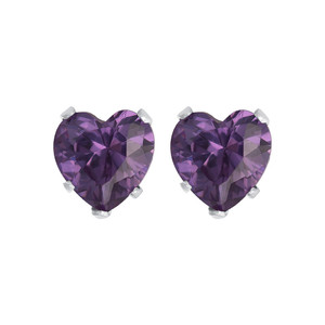 Purple Cubic Zirconia CZ 925 silver Stud Earrings