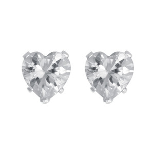 Heart Shape Clear CZ 925 silver Stud Earrings