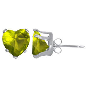 4mm Heart Shape Peridot Color Cubic Zirconia CZ August Birthstone Sterling silver Stud Earrings