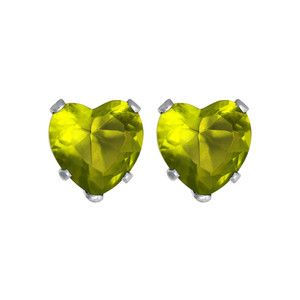 4mm Heart Shape Peridot Color CZ August Birthstone 925 silver Stud Earrings