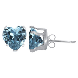 Sterling silver Blue Color CZ Stud Earrings