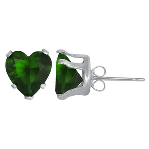 Sterling Silver Green Color CZ Stud Earrings