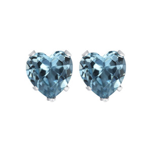 Heart Shape CZ Stud Earrings