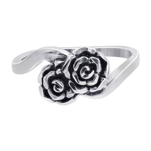 925 Sterling Silver 7mm wide Double Rose Ring #TBRS111