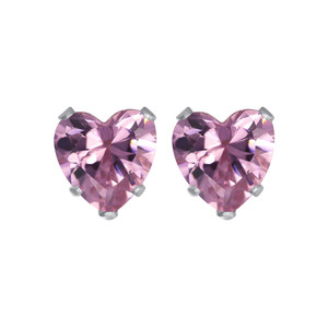 Sterling Silver 7mm Heart Pink Cubic Zirconia Stud Earrings for Women