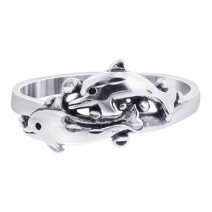 925 Sterling Silver 8mm wide Double Dolphin Wrap Ring