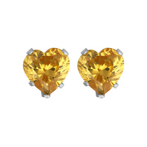 Yellow CZ Cubic Zirconia Sterling Silver Stud Earrings