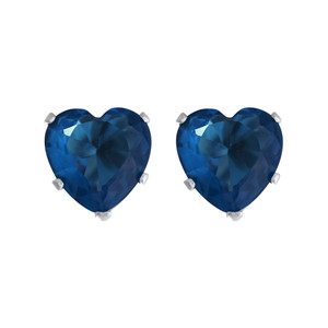 8mm Heart Shape Blue Zircon Color Cubic Zirconia CZ December Birthstone Sterling Silver Stud Earrings