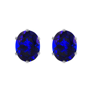 Blue Sapphire Color Cubic Zirconia 925 Silver Stud Earrings