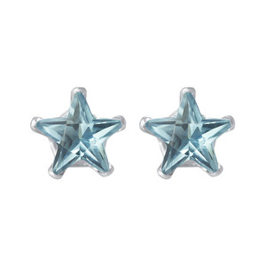 4mm Star Shape Blue CZ Cubic Zirconia March Birthstone Sterling Silver Stud Earrings