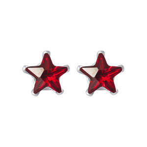 Star Shape Red CZ 925 Silver Stud Earrings